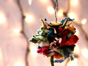 recycled fabric xmas hanging ornament
